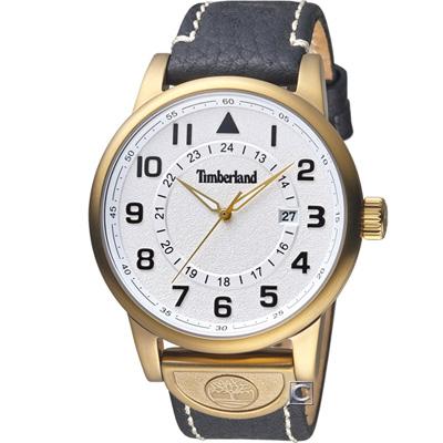 Timberland 西部牛仔時尚腕錶-白x黑色表帶/45mm