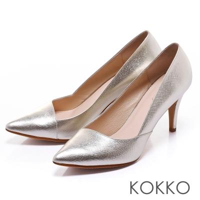 KOKKO經典再現 - 時髦尖頭斜切高跟鞋 - 璀璨金