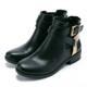 BCBG-交叉金屬扣伸縮帶短筒靴-黑色