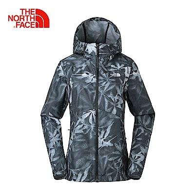 The North Face北面女款黑印花色防潑水輕量風衣