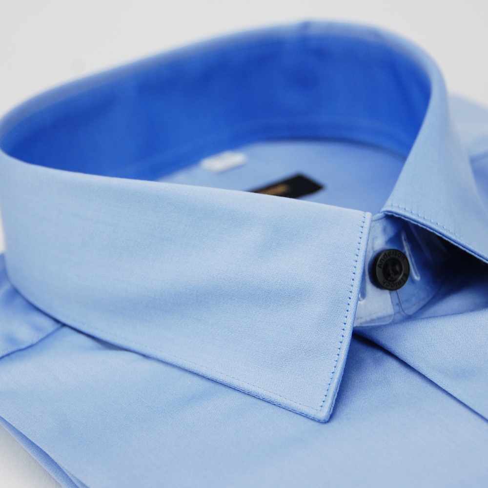 金‧安德森 藍色窄版長袖襯衫-fast