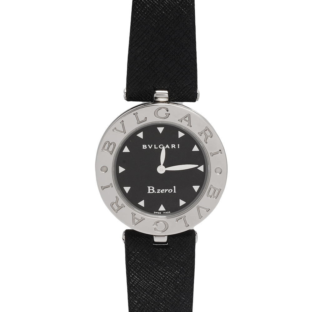 BVLGARI 寶格麗B.ZERO1系列防刮皮革三角型時標精鋼石英女仕腕錶(黑-30mm)