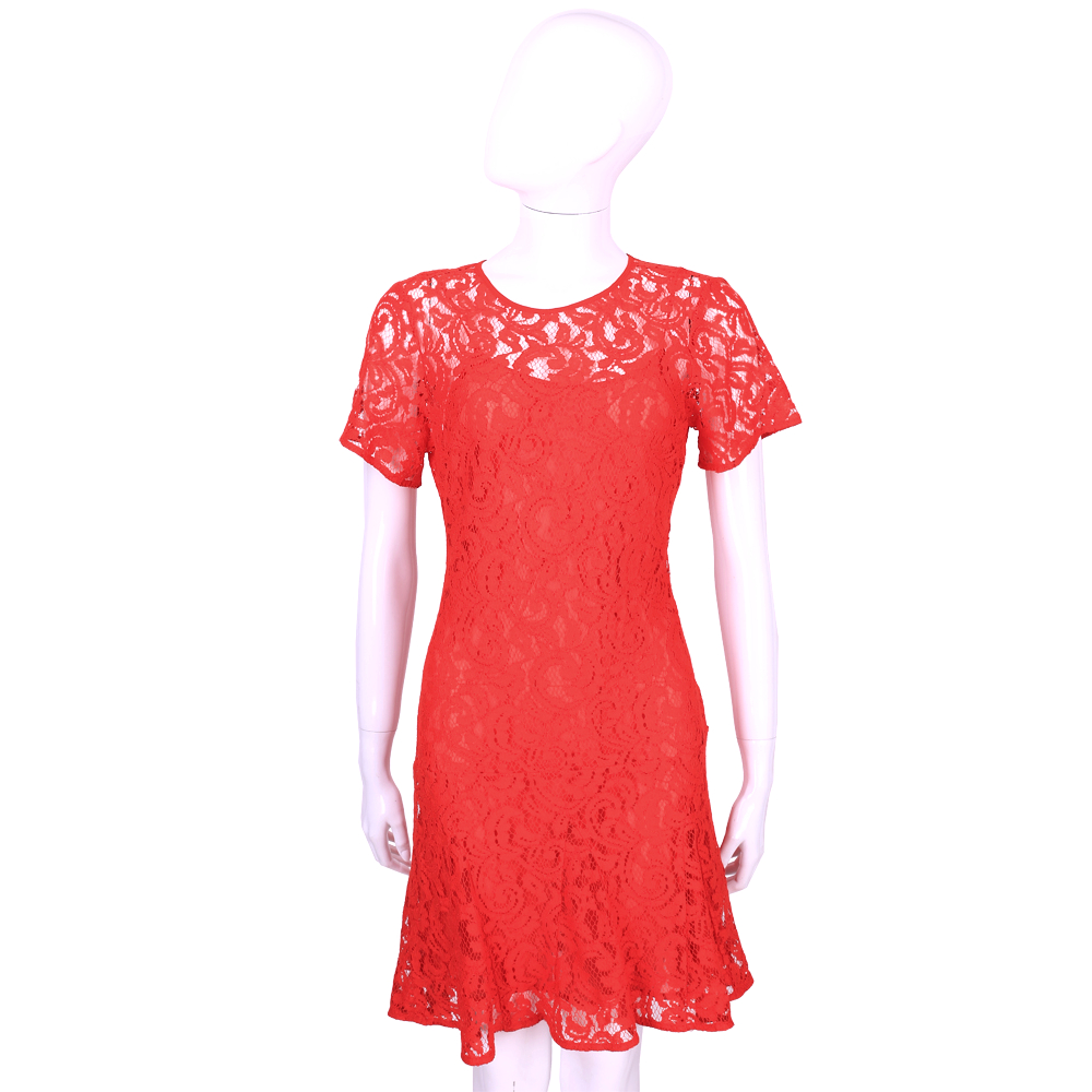 Michael Kors 紅色縷空織花蕾絲短袖洋裝
