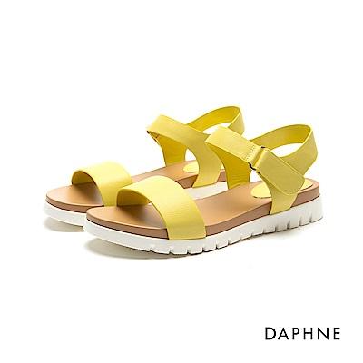 達芙妮DAPHNE 涼鞋-鋸齒鞋底魔鬼氈一字平底涼鞋-黃