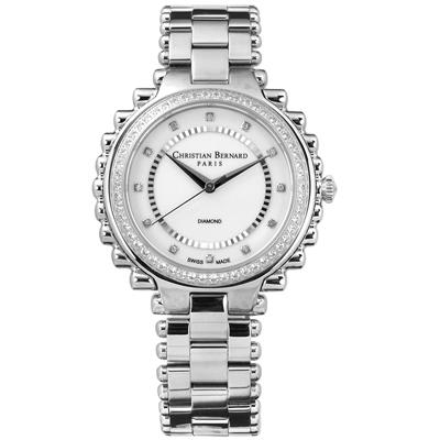 CHRISTIAN BERNARD 伯納錶 白剛玉真鑽棕櫚樹不鏽鋼手錶-銀色/38mm