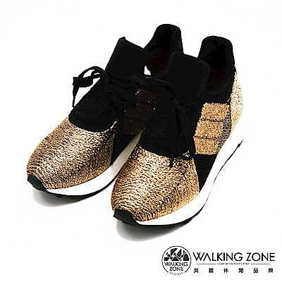 Walking ZONE-閃亮金蔥綁帶運動鞋-金