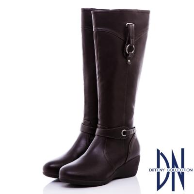 DN-時尚品味-側銅環設計顯瘦楔型長靴-咖