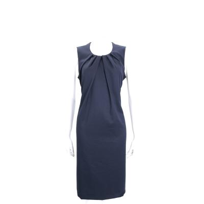TRUSSARDI 灰藍色抓皺圓領設計無袖洋裝