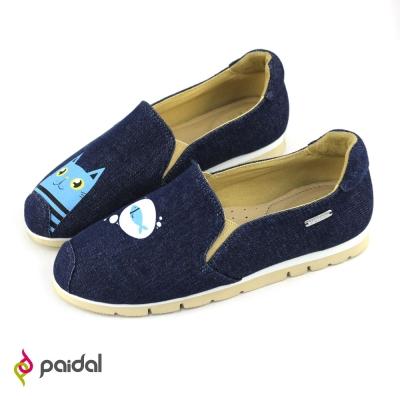Paidal貓咪與魚輕運動休閒鞋樂福鞋懶人鞋-深藍