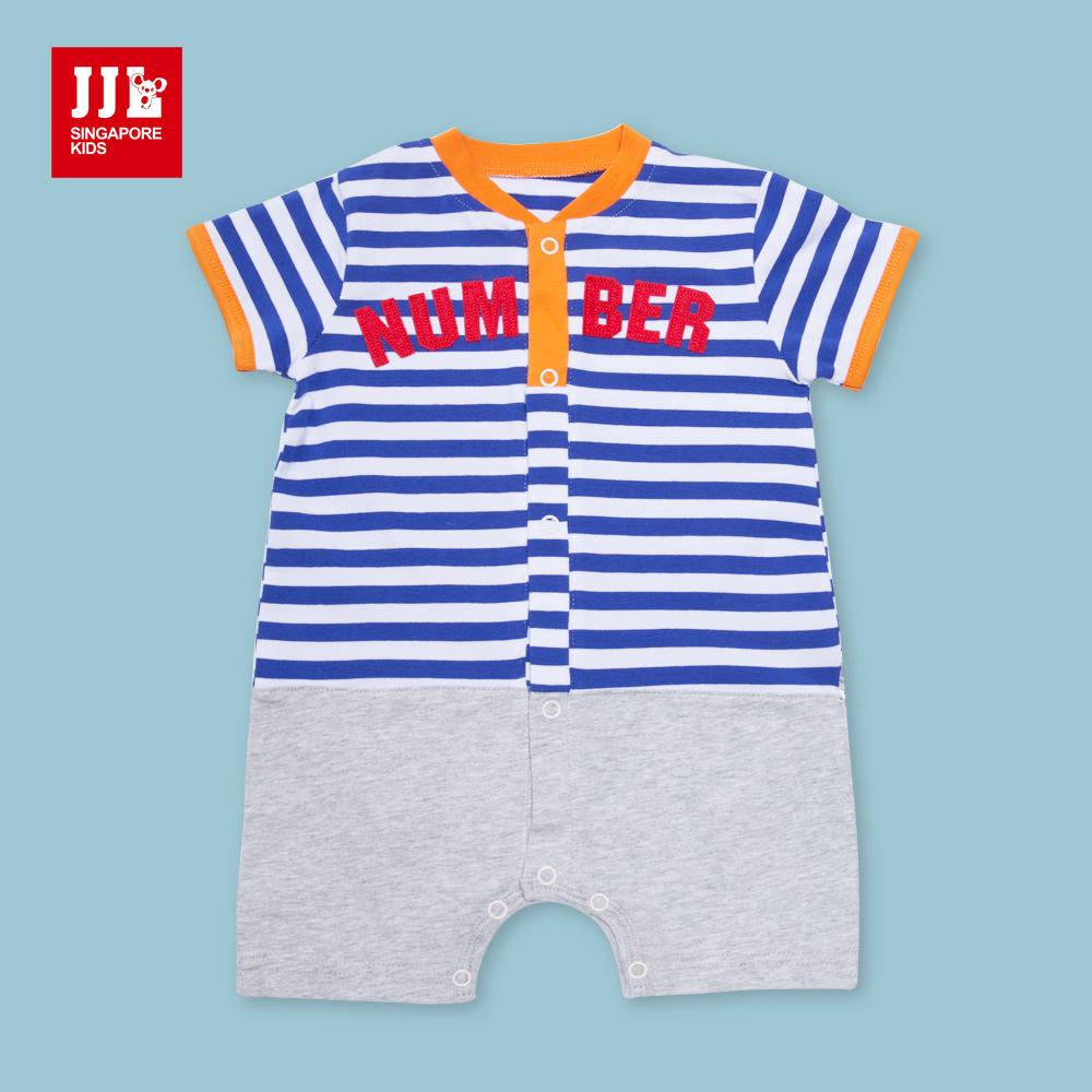 JJLKIDS時尚玩色條紋短袖包屁衣彩藍