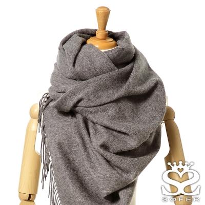 SOFER-簡約素色100-純羊毛保暖披肩-圍巾-雲霧灰new