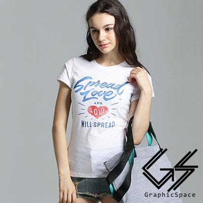 水彩色傳播愛心字母圖案磨毛水洗短版T恤共二色-GraphicSpace