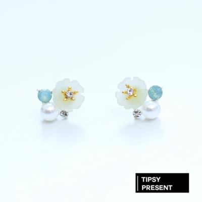 微醺禮物 耳環 正韓 925銀針 粉嫩蛋白色水鑽 盛開的花 針式 耳環