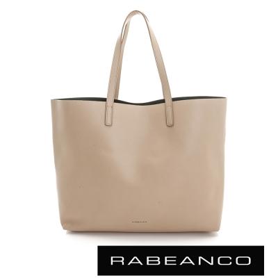 RABEANCO 迷時尚系列牛皮撞色素面肩背包 - 杏