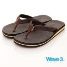 WAVE3 男款 雙層 織帶人字厚底休閒夾腳拖鞋~咖