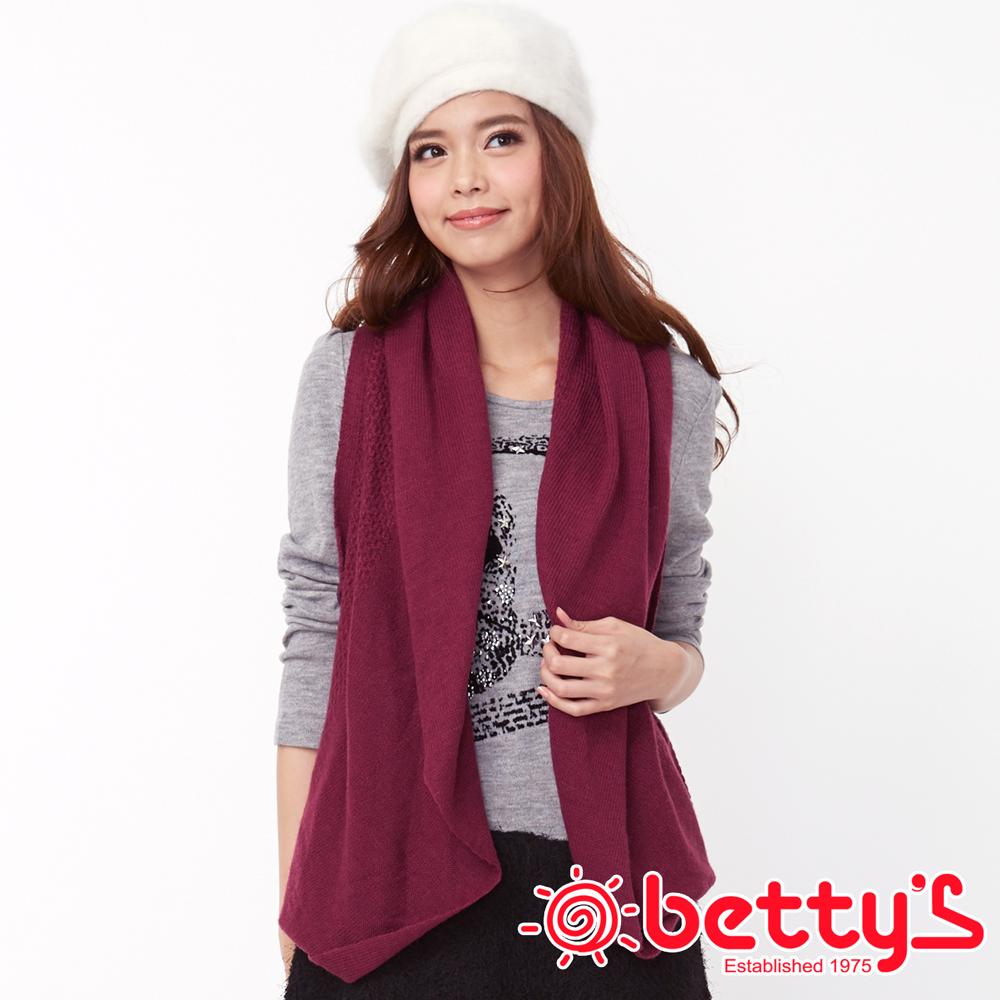 betty's貝蒂思 素雅高尚混羊毛縷空滾邊罩衫背心 (深紫紅)