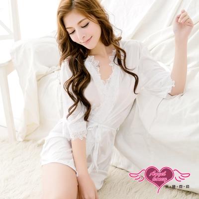 罩衫 異國情調 滾蕾絲柔軟冰絲睡袍(白F) 天使霓裳