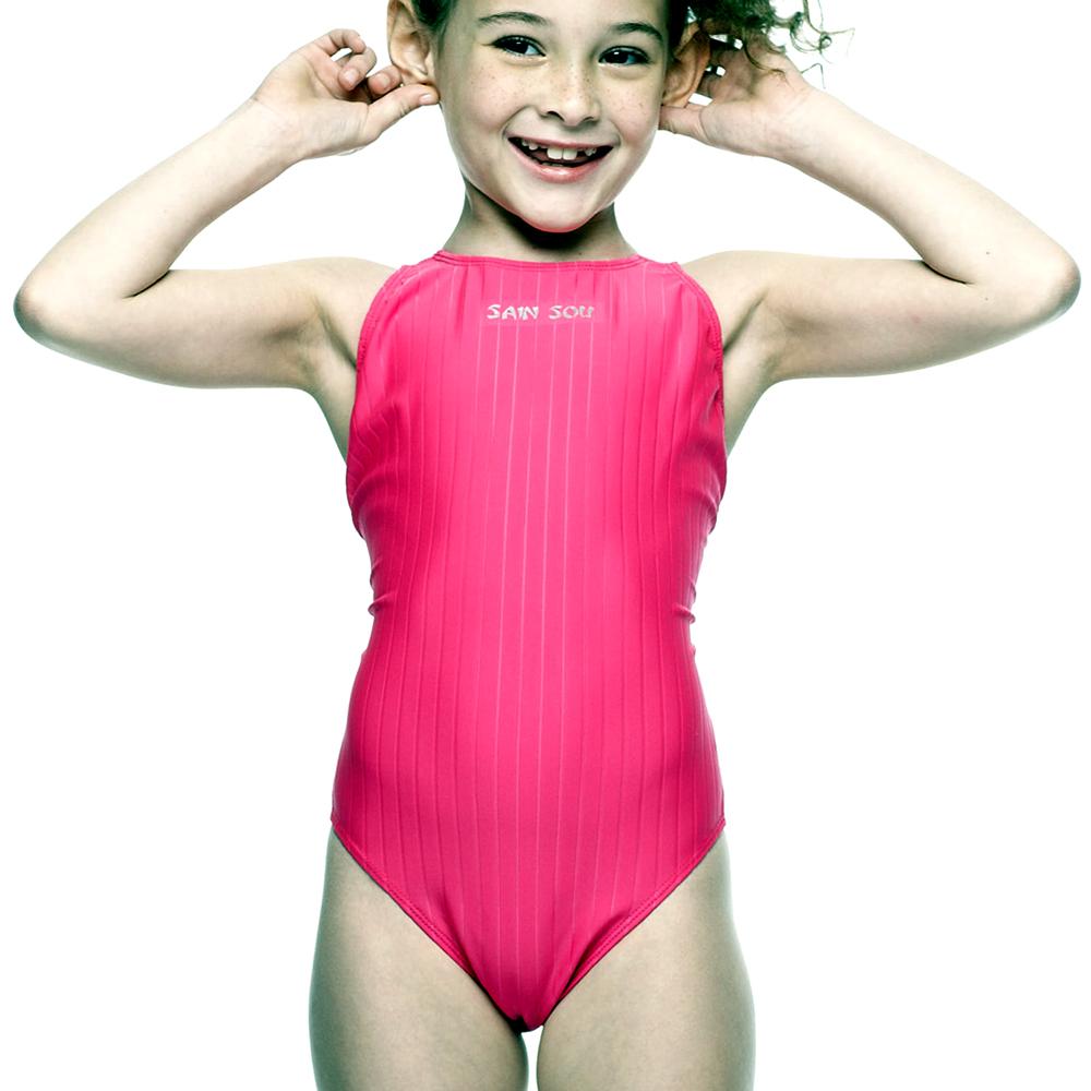 聖手牌 兒童泳裝 紅色系連身式專業女童泳裝