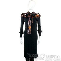 CLASS roberto cavalli 黑色領巾造型長袖洋裝