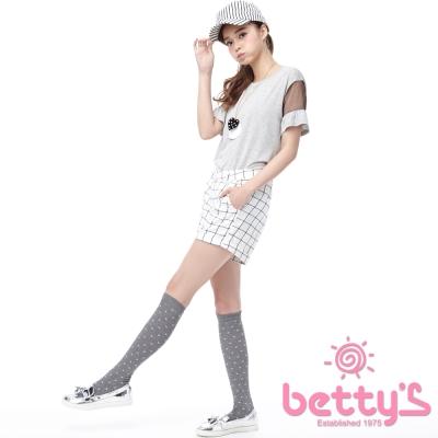 betty-s貝蒂思-褲管反褶格紋短褲-白色