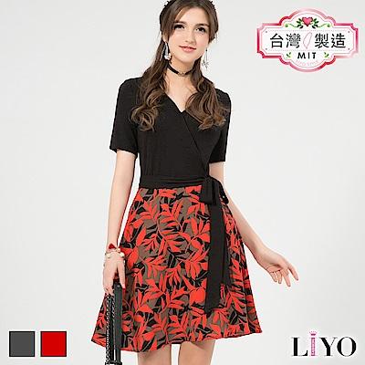 LIYO理優MIT假兩件式印花洋裝(橘,灰)