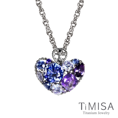TiMISA《絢麗典藏-寵愛(藍紫) 》純鈦項鍊(SB)
