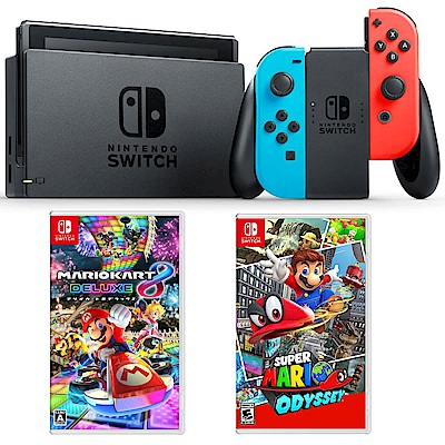 任天堂 Nintendo Switch 電光藍、電光紅Joy-Con馬利歐超值組