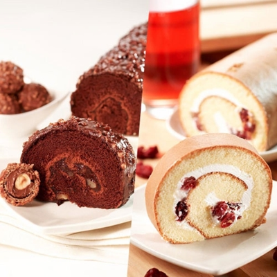 ★3Q烘焙★ 經典巧克力金沙捲*1+楓糖蔓越莓捲*1 組合