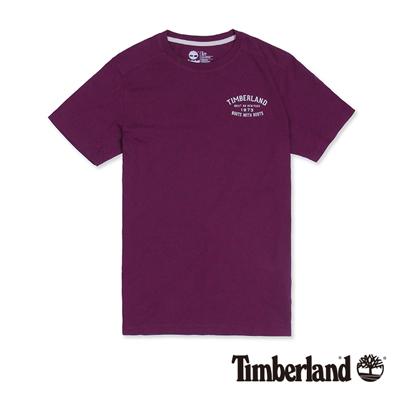 Timberland-男款紫色前後品牌印花短袖T恤