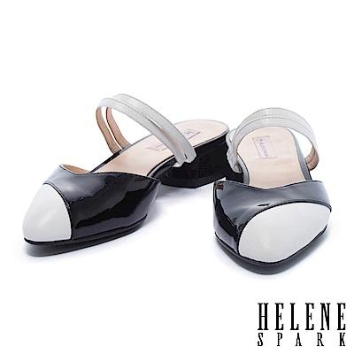 拖鞋 HELENE SPARK 復古撞色異材質拼接尖頭繫帶低跟拖鞋-黑