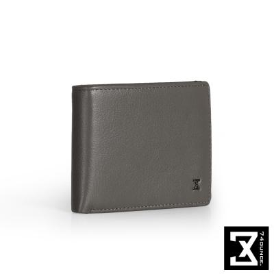 74盎司 Plain 真皮橫式短夾(小)[N-500]灰
