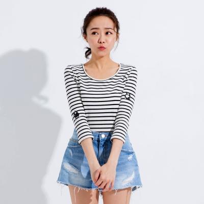 101原創 掰掰啾啾 XOXO圓領條紋七分袖T恤上衣-白