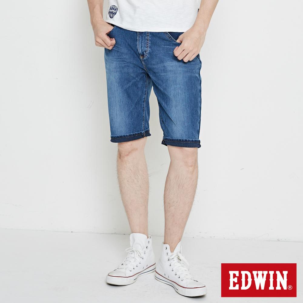 EDWIN 迦績褲JERSEYS紅腰頭短褲-男-酵洗藍