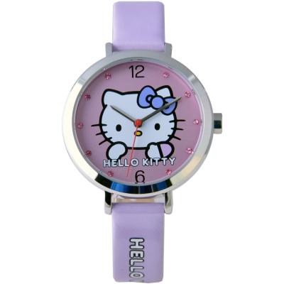 HELLO KITTY 凱蒂貓羞澀模樣時尚手錶-紫/30mm
