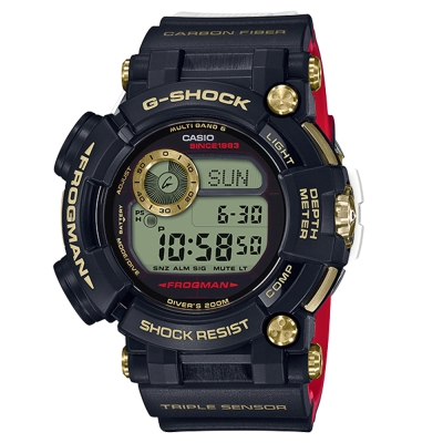 G-SHOCK35周年第二波紀念-金光榮耀紅黑撞色蛙人電波錶(GWF-D1035B)58 @ Y!購物
