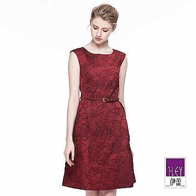 ILEY伊蕾 典雅輕奢緹織洋裝(紅)
