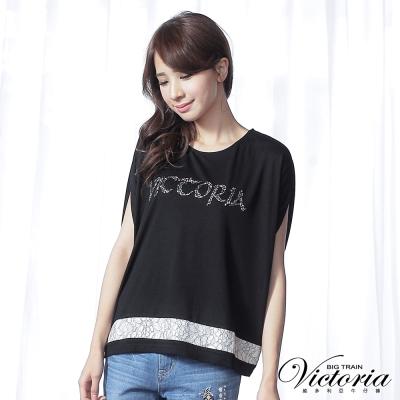 Victoria 蕾絲剪接寬鬆短袖T-女-黑色