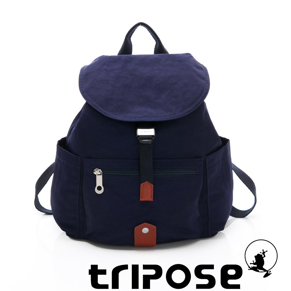 tripose MEMENTO系列微皺尼龍輕量防潑水後背包-小 深海藍