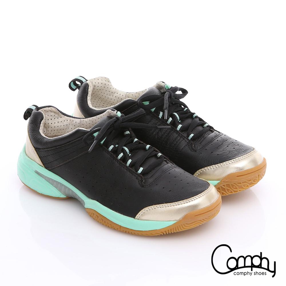 Comphy 3D奈米系列 真皮透氣雙色綁帶拼接氣動鞋 黑色