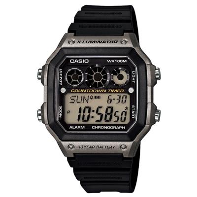 CASIO 10年電力亮眼設計方形數位錶(AE-1300WH-8A)-灰框x黑錶圈/42mm