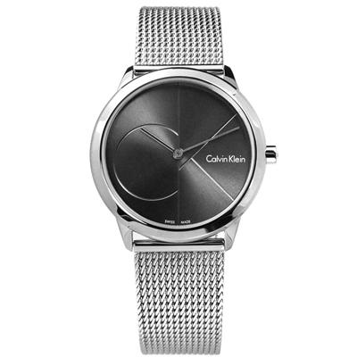 CK minimal 經典簡約大CK瑞士機芯防水米蘭編織不鏽鋼手錶-銀灰色/35mm