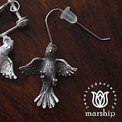 Marship 日本銀飾品牌 鸚鵡耳環 展翅飛翔款 925純銀 古董銀款 針式耳環