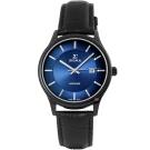 SIGMA 簡約藍寶石鏡面時尚手錶-藍X黑/39mm