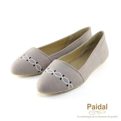 Paidal 優雅水波紋棉麻款尖頭包鞋尖頭鞋-灰