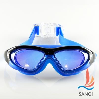 SANQI三奇 夏日必備全景抗UV防霧休閒泳鏡(910-藍F)