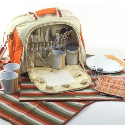 豪華四人野餐精緻組合提包(含地墊)
