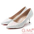 G.Ms. 花嫁系列-尖頭貼鑽新娘鞋-銀色
