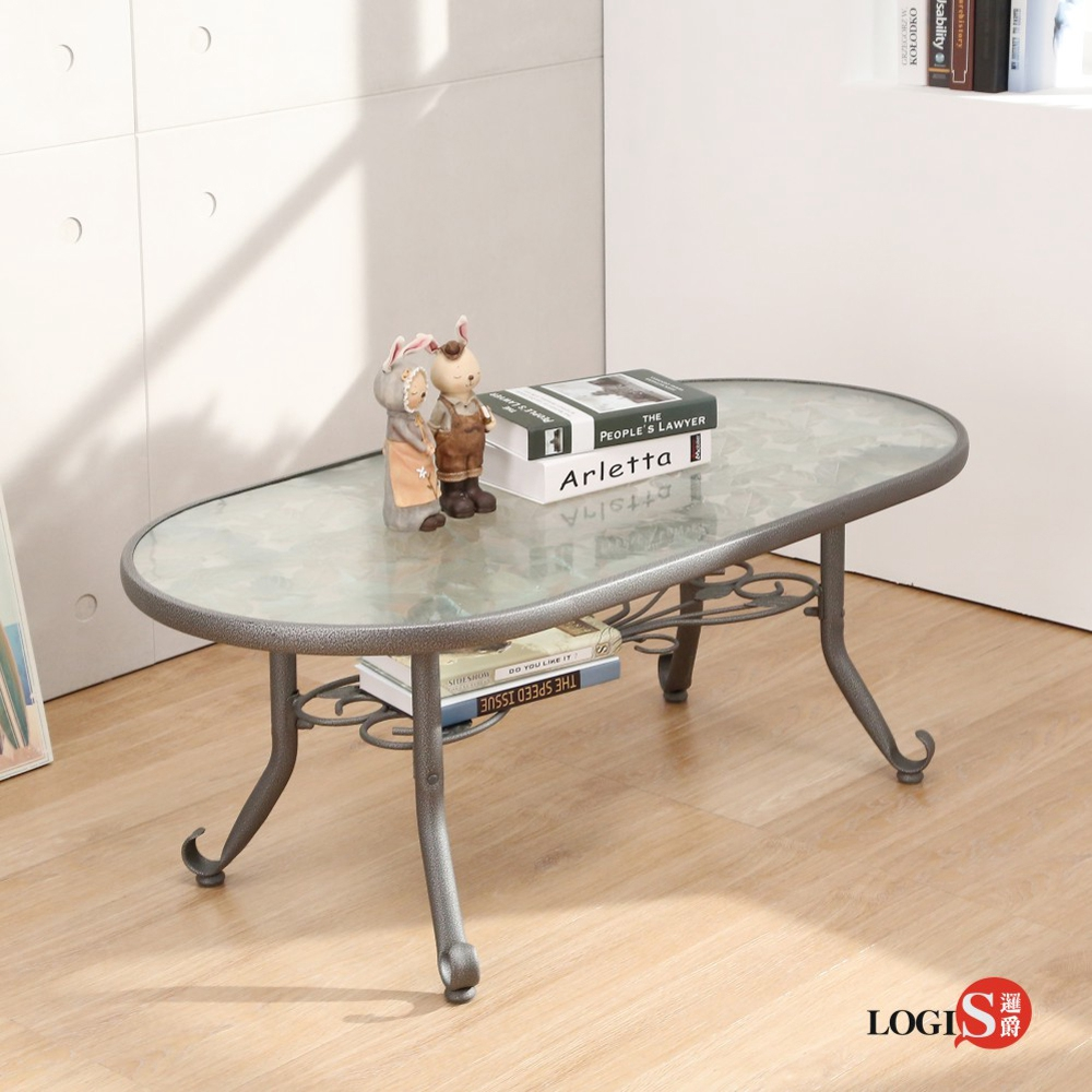 LOGIS邏爵~雅典玻璃茶几/橢圓桌/客廳桌(122x61x46cm)