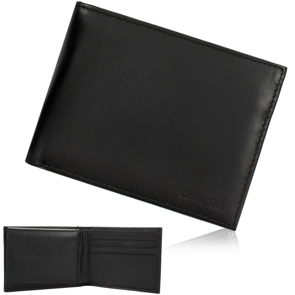 Calvin Klein 素面LOGO壓紋短夾鑰匙圈禮盒-黑色