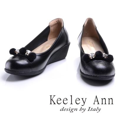 Keeley Ann質感拼接~晶鑽毛絨小圓球OL真皮娃娃鞋(黑色)